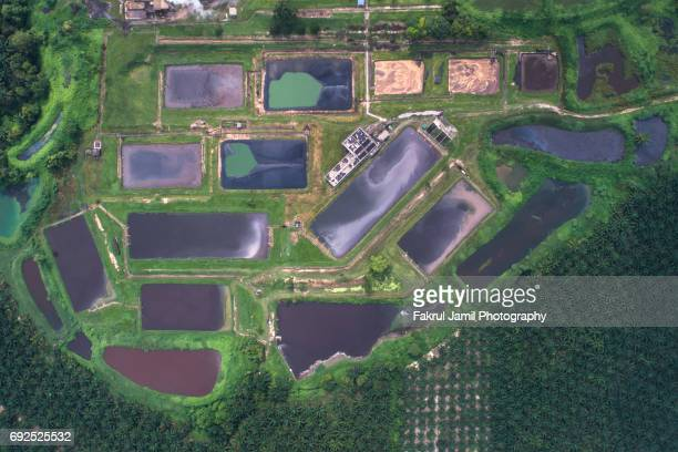 Malaysia Circa 2017 - Aerial view of Palm oil treatment mill located in Pahang, Malaysia.