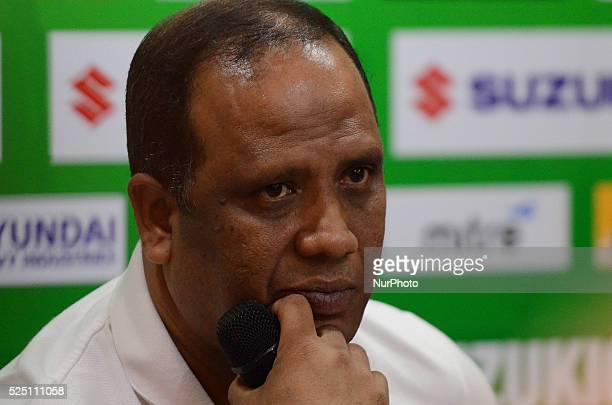 Malaysia coach Dollah Salleh addresses during a press conference after the AFF Suzuki Cup 2014 final round 1st leg Thailand Malaysia at Rajamangala...