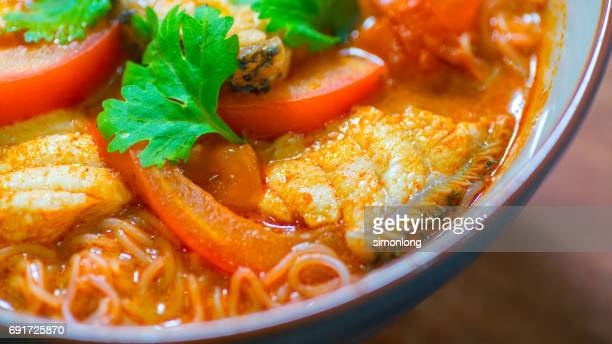 malaysia curry noodles - curry soup stock photos and pictures