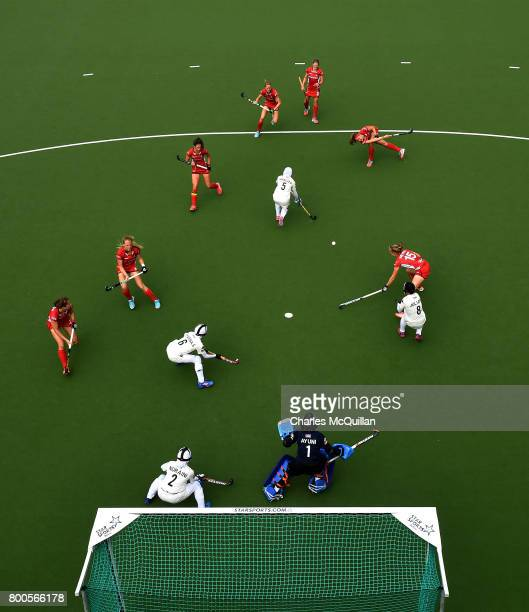 Malaysia defend a Belgium penalty corner during the FINTRO Women's Hockey World League SemiFinal Pool B game between Belgium and Malaysia on June 24...
