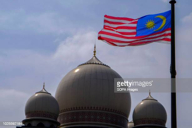 Malaysia flag seen on the top of Palace of Justice building's dome at the 61st Malaysia anniversary of independence day at Dataran Putrajaya...