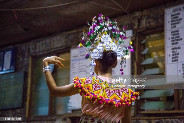 malaysia: iban traditional dance - sarawak state stock pictures, royalty-free photos & images