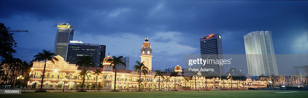 Malaysia, Kuala Lumpur, the Sultan Samad building at dusk : Stock Photo