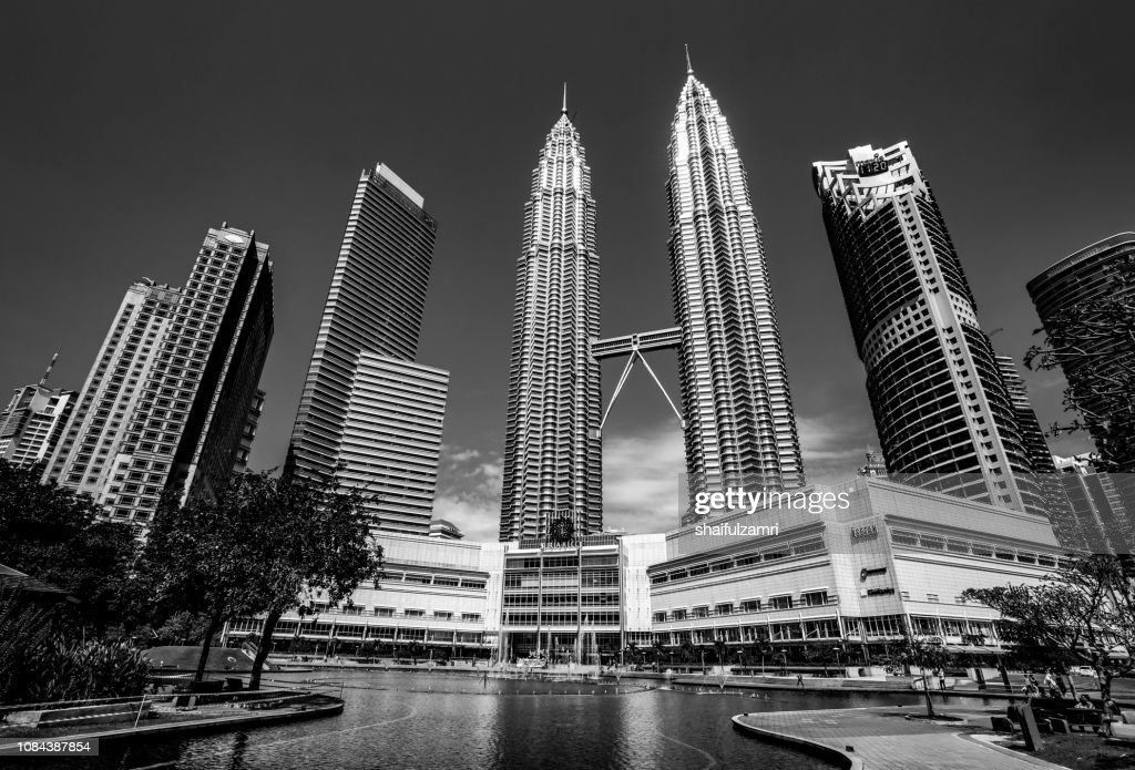 KLCC Malaysia landmark building in black and white : Stock Photo
