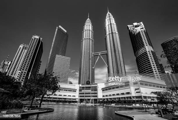 KLCC Malaysia landmark building in black and white