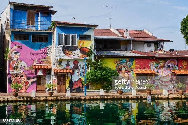 malaysia, malacca, the canal, wall painting - melaka state stock pictures, royalty-free photos & images