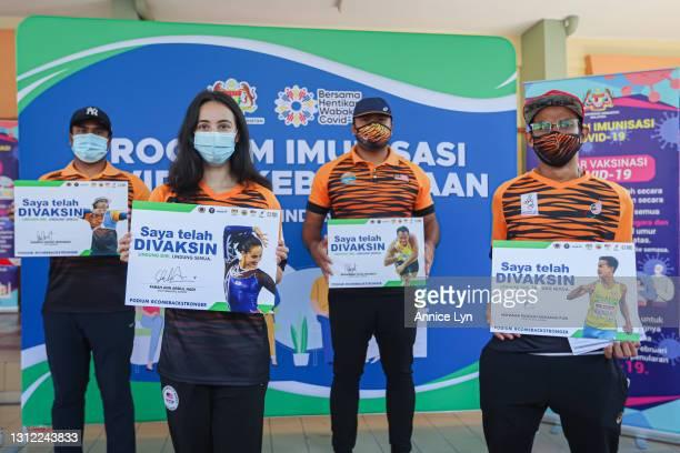 Malaysia Olympic and Paralympic athletes Khairul Anuar Mohamad, Farah Ann Abdul Hadi, Muhammad Ziyad Zolkefli and Mohamad Ridzuan Mohamad Puzi pose...