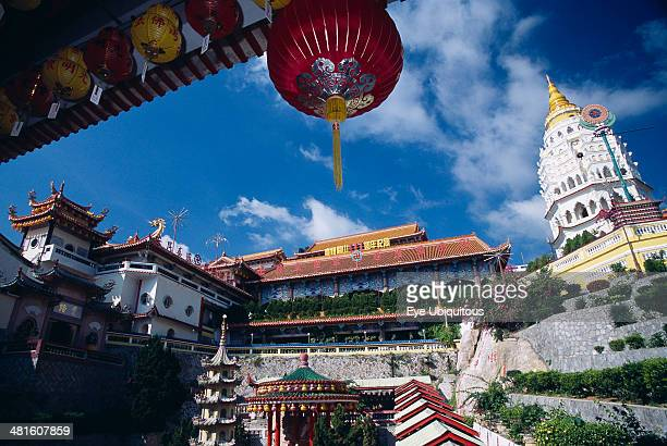 Malaysia Penang Kek Lok Si Temple view of complex with Ban Po Pagoda of a Thousand Buddhas and red Chinese lantern
