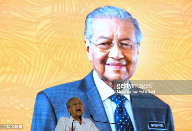 Malaysia Prime Minister Mahathir Mohamad speaks during launch Love My Palm Oil campaign on March 24, 2019 in Carey Island outside Kuala Lumpur,...