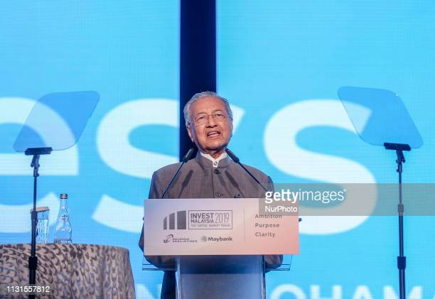 Malaysia Prime minister Tun Dr Mahathir Mohamad delivers his speech during the Invest Malaysia 2019 conference in Kuala Lumpur March 19, 2019.