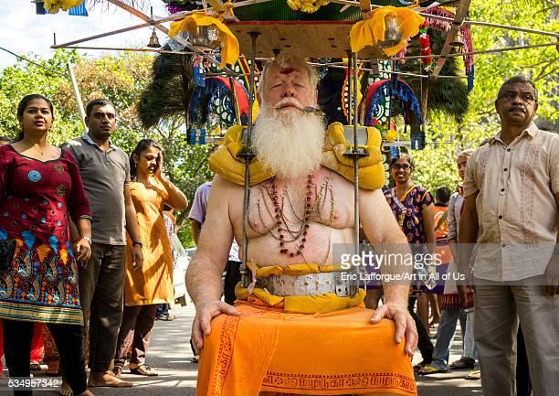 Malaysia Southeast Asia Kuala Lumpur Carl An Australian Hindu Devotee Carrying A Kavadi In Thaipusam