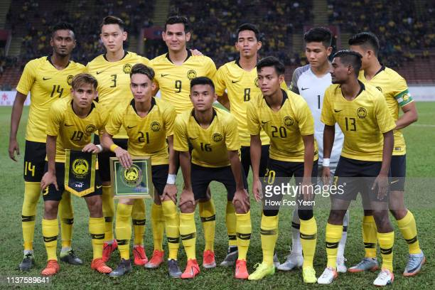Malaysia team group photo during the AFC U23 Championship qualifier between Malaysia and Philippines at Shah Alam Stadium on March 22 2019 in Shah...