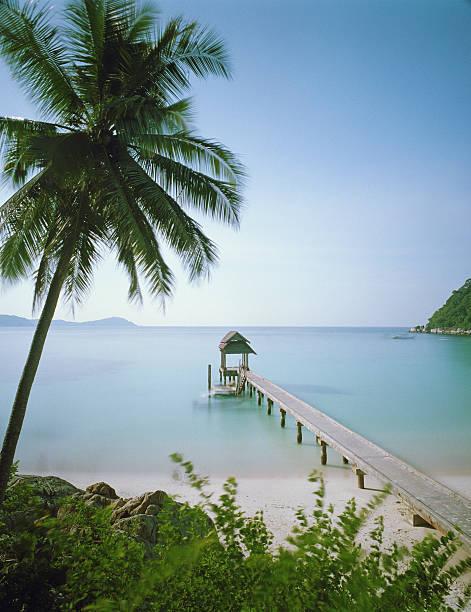 Malaysia, Terengganu state, Pulau Perhentian Besar, Jetty on beachside (long exposure)