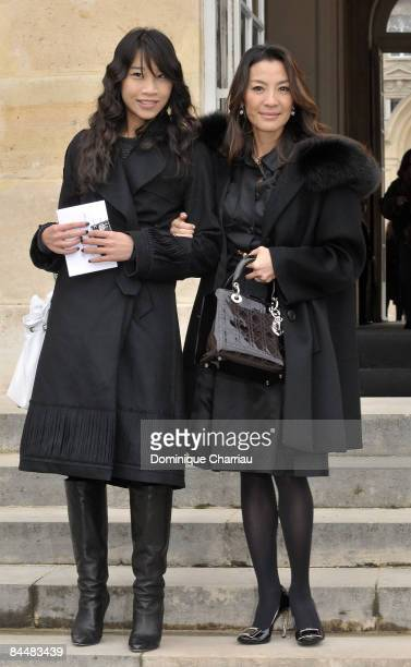 Malaysian Actress Michel Yeoh and her Goddaughter Deen Toon attend the Christian Dior fashion show during Paris Fashion Week Haute Couture...