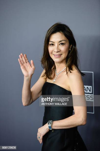 Malaysian actress Michelle Yeoh attends the red carpet for the 2018 American Foundation for AIDS Research Hong Kong gala at Shaw Studios in Hong Kong...