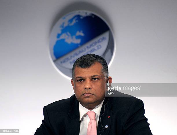 "Malaysian budget carrier AirAsia chief Executive Tony Fernandez attends a session on the second day of the 4th edition of the ""Colloque Nouveau..."