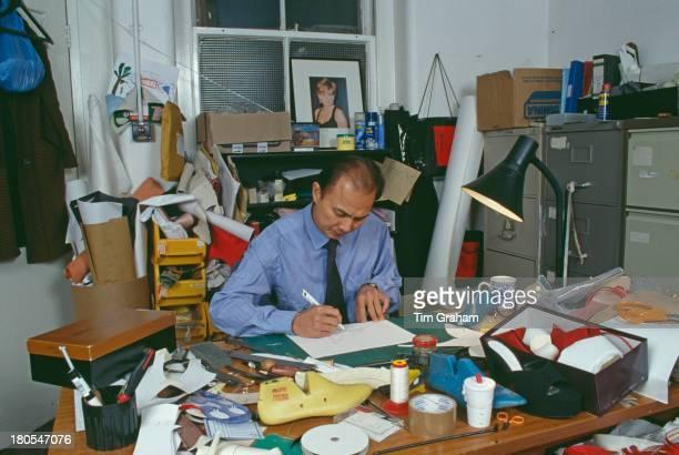 Malaysian Chinese fashion designer Jimmy Choo at work in his London studio, December 1997.