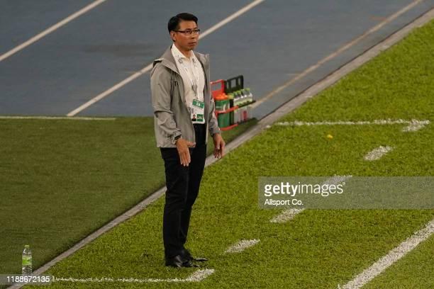 Malaysian coach Tan Cheng Hoe looks on during the 2022 Qatar FIFA World Cup Asian qualifier group G match between Malaysia and Indonesia at the Bukit...