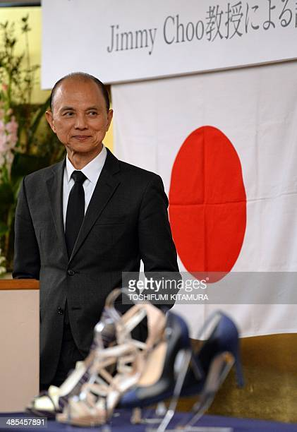 """Malaysian designer Jimmy Choo listens to a question during his lecture """"Creativity Thugh Skills"""" in Fukushima city on April 18, 2014. World famous..."""