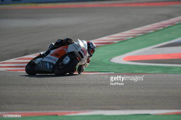 16 Malaysian driver Joe Robets of NTS RW Racing GP driving during warm up in Misano World Circuit Marco Simoncelli in Misano Adriatico for San Marino...