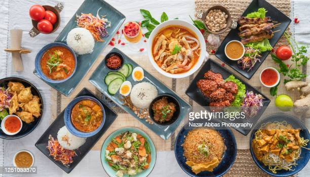malaysian food background. - spread food stock pictures, royalty-free photos & images