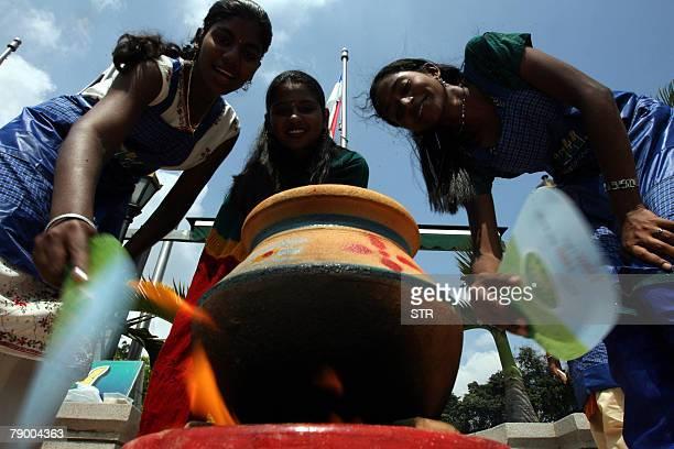Malaysian Hindu women cook a ritual sarkkarai ponggal dish rice boiled in milk during the National Pongal celebration in Kuala Lumpur 15 January 2008...