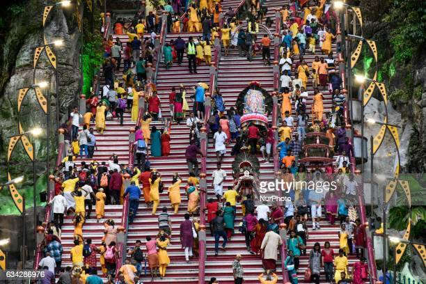 Malaysian Hindus Lead up to the Batu Caves north of the Malaysian capital Kuala Lumpur on February 08 2017 Hindus are currently celebrating the Feast...