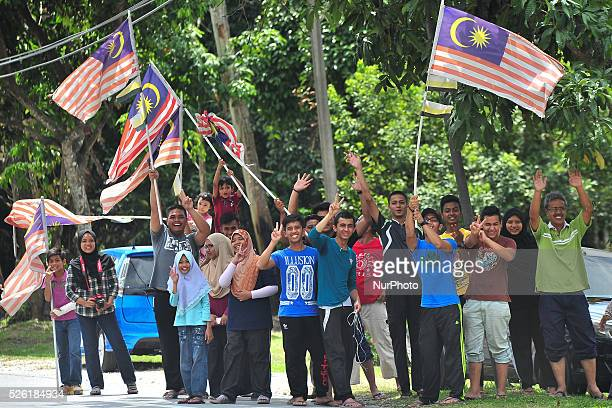 Malaysian local supporters the fourth stage of the Tour de Langkawi 2016 the 1294 km from Ipoh to Cameron Highlands Cameron Highlands Malaysia on...