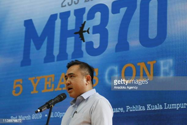 Malaysian Minister of Transport Anthony Loke speaks during a commemoration event to mark the 5th anniversary of the missing Malaysia Airlines MH370...