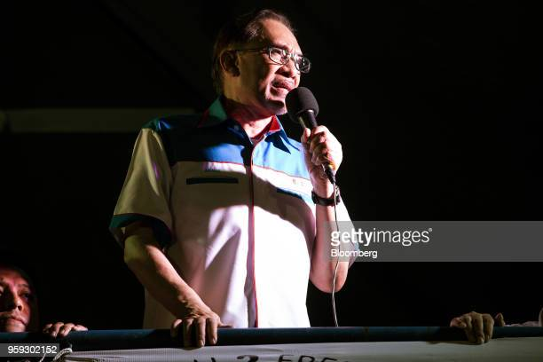 Malaysian politician Anwar Ibrahim speaks at a Pakatan Harapan alliance event in Petaling Jaya Selangor Malaysia on Wednesday May 16 2018 Anwar is a...