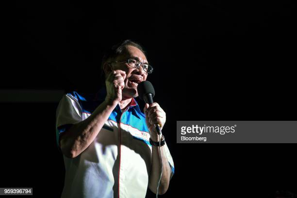 Malaysian politician Anwar Ibrahim speaks at a Pakatan Harapan alliance event in Petaling Jaya Selangor Malaysia on Wednesday May 16 2018 Anwar is a...