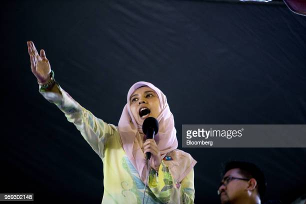 Malaysian politician Nurul Izzah speaks during a Pakatan Harapan alliance event in Petaling Jaya Selangor Malaysia on Wednesday May 16 2018 Malaysian...