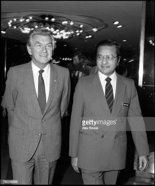 Malaysian Prime Minister Mahathir bin Mohamad and Australian Prime Minister Bob Hawke in Kuala Lumpur Malaysia 24th February 1984