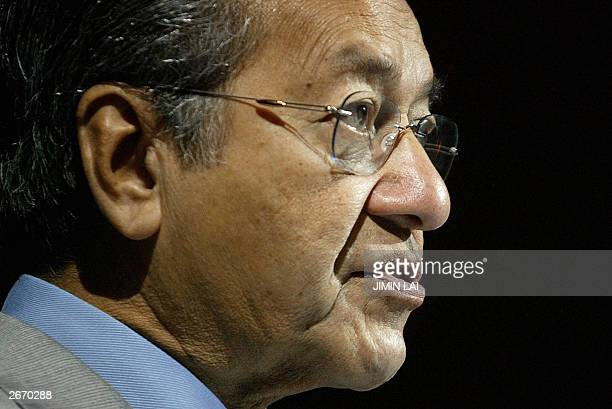 Malaysian Prime Minister Mahathir Mohamad delivers his keynote address at the launching of the Central Bank's International Centre for Leadership in...