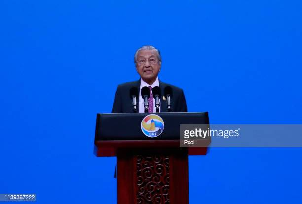 Malaysian Prime Minister Mahathir Mohamad delivers his speech for the opening ceremony of the Belt and Road Forum for International Cooperation April...