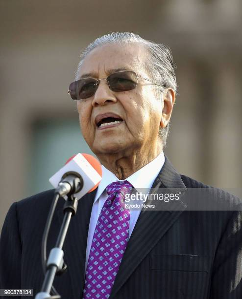Malaysian Prime Minister Mahathir Mohamad gives a speech in front of his office in Putrajaya the federal administrative capital near Kuala Lumpur on...