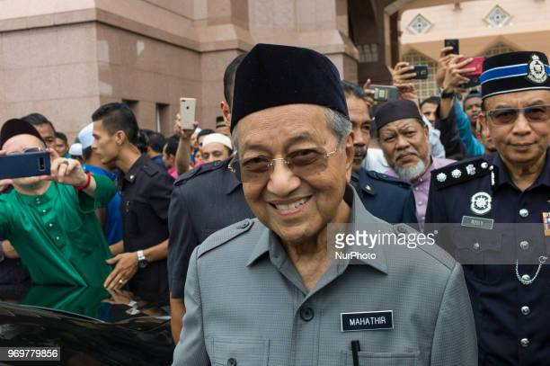 Malaysian Prime Minister Mahathir Mohamad leaves after performing Friday prayers at Putra Mosque Putrajaya Malaysia on June 08 2018