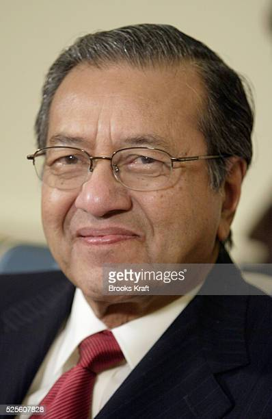 Malaysian Prime Minister Mohamad Mahathir meets U.S. President George W. Bush in the Oval Office. The two leaders were expected to discuss the...