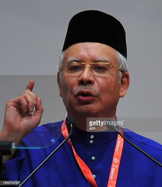 Malaysian Prime Minister Najib Razak addresses the ruling party's annual general assembly in Kuala Lumpur on December 1 2011 The ruling party UMNO's...