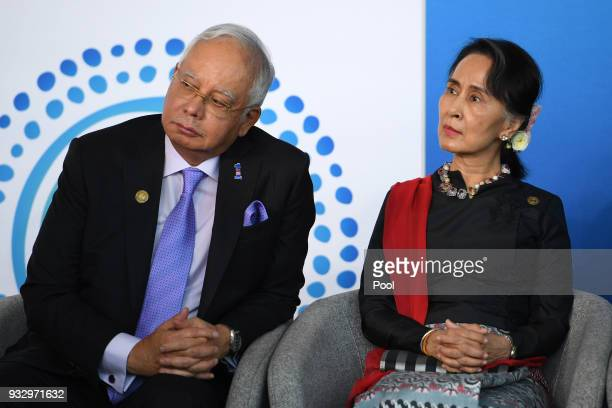 Malaysian Prime Minister Najib Razak and Myanmar State Counsellor Aung San Suu Kyi attend the New Colombo Plan Reception during the ASEANAustralia...