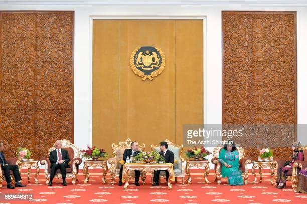 Malaysian Prime Minister Najib Razak King Sultan Muhammad V Crown Prince Naruhito and Rosmah Mansor wife of Razak are seen during their meeting at...