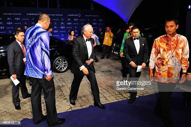 Malaysian prime minister Tun Abdul Razak attends the 2014 Laureus World Sports Awards at the Istana Budaya Theatre on March 26 2014 in Kuala Lumpur...