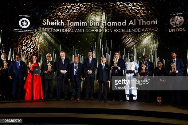 Malaysian Prime Minister Tun Dr Mahathir Mohamad and Emir of Qatar Sheikh Tamim Hamad AlThani pose for photo during the Sheikh Tamim Hamad AlThani...