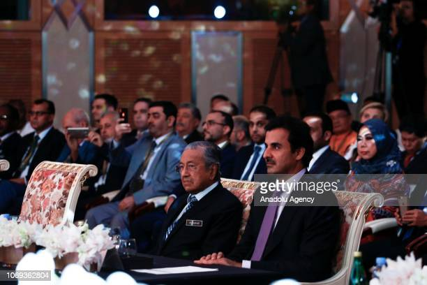 Malaysian Prime Minister Tun Dr Mahathir Mohamad and Emir of Qatar Sheikh Tamim Hamad AlThani attend the Sheikh Tamim Hamad AlThani International...