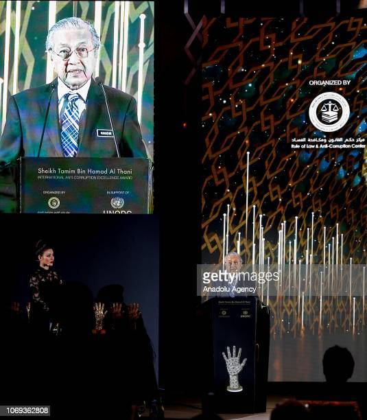Malaysian Prime Minister Tun Dr Mahathir Mohamad gives speech during the Sheikh Tamim Hamad AlThani International AntiCorruption Excellence Award...