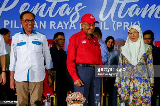 Malaysian Prime Minister Tun Mahathir Mohamad and his deputy Wan Azizah are seen as they attend Anwar Ibrahim byelection campaign in Port Dickson...