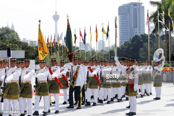 Malaysian Royal Guard leaves the welcoming ceremony of the new King of Malaysia the sixth Sultan of Pahang AlSultan Abdullah Ri'ayatuddin AlMustafa...