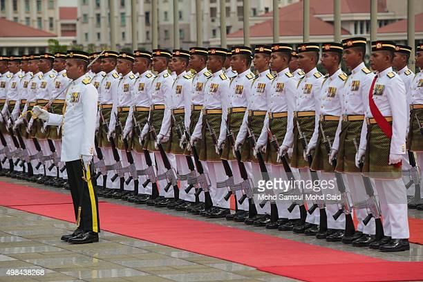 Malaysian Royal Malay army regiment guard of honour outside the Malaysia's Prime Minister Najib Razak's office during official visit to Malaysia on...