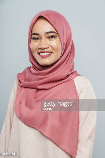 malaysian woman with hijab studio portrait - beautiful people stock pictures, royalty-free photos & images