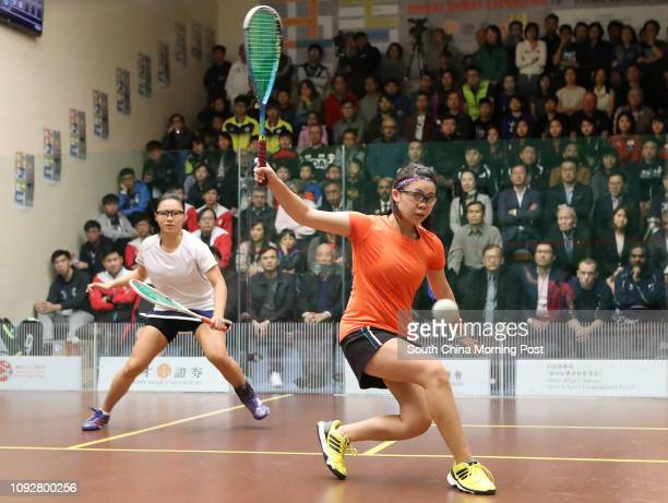 Malaysia's Andrea Lee Jiaqi and Hong Kong's Cheng Ngaching in action during Asian Junior Squash Team Championships 2017 at HK Squash Centre in...